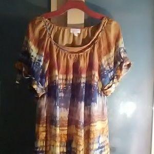 Tye-dye sheer blouse